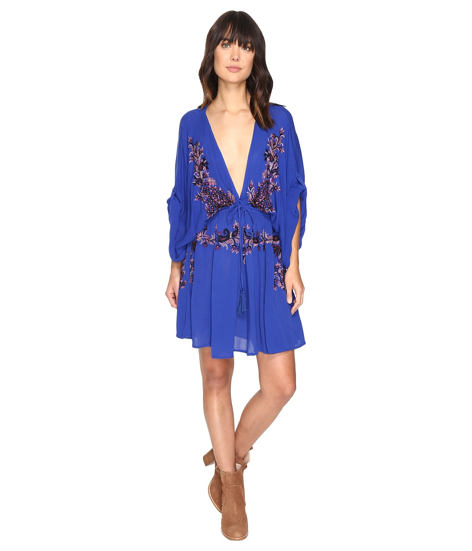 Free People Pretty Pineapple Embroidered Dress (Sapphire) Women
