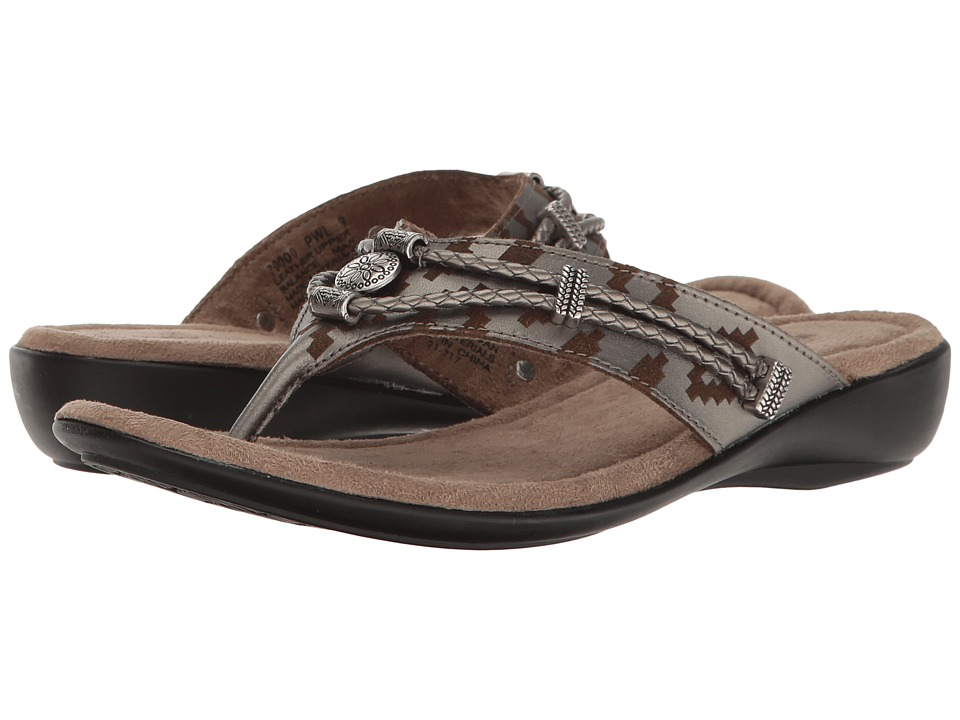 Minnetonka Silverthorne Thong (Pewter Laser Print Leather...