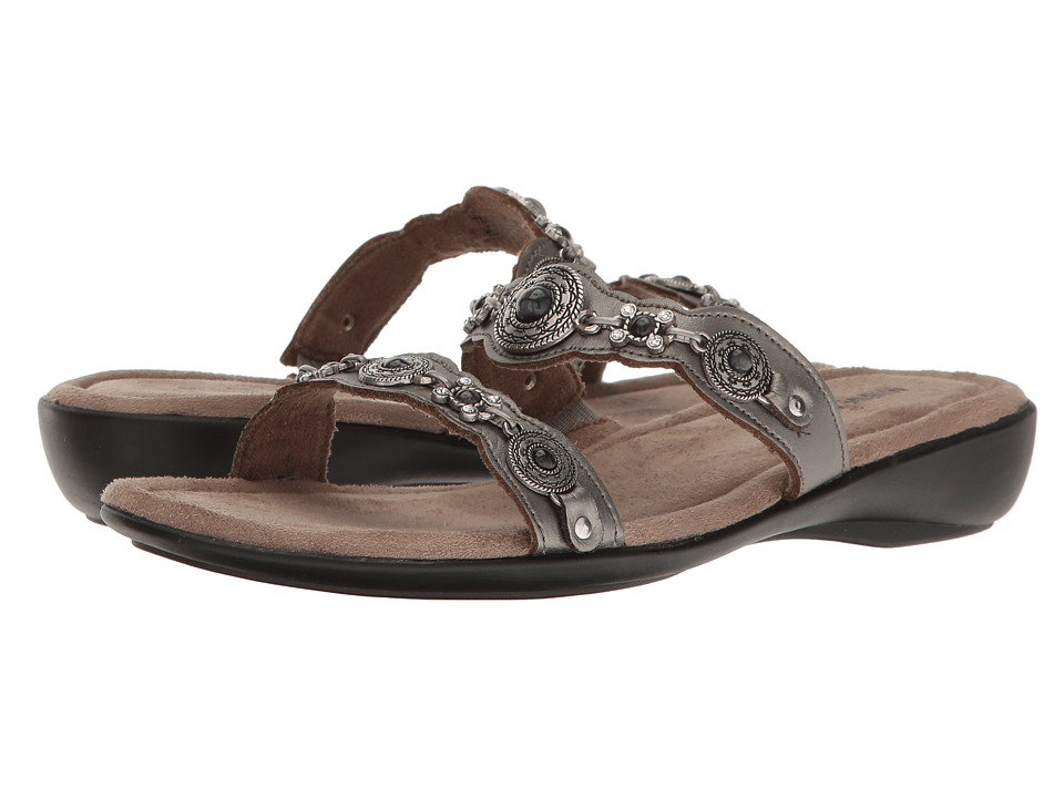 Minnetonka Boca Slide III (Pewter Leather) Women's Sandals