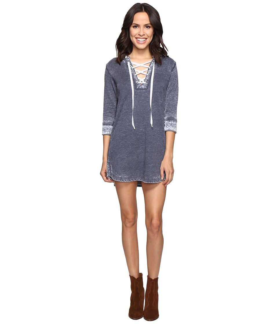Image of Allen Allen - 3/4 Sleeve Lace Front Short Dress (Navy) Women's Dress