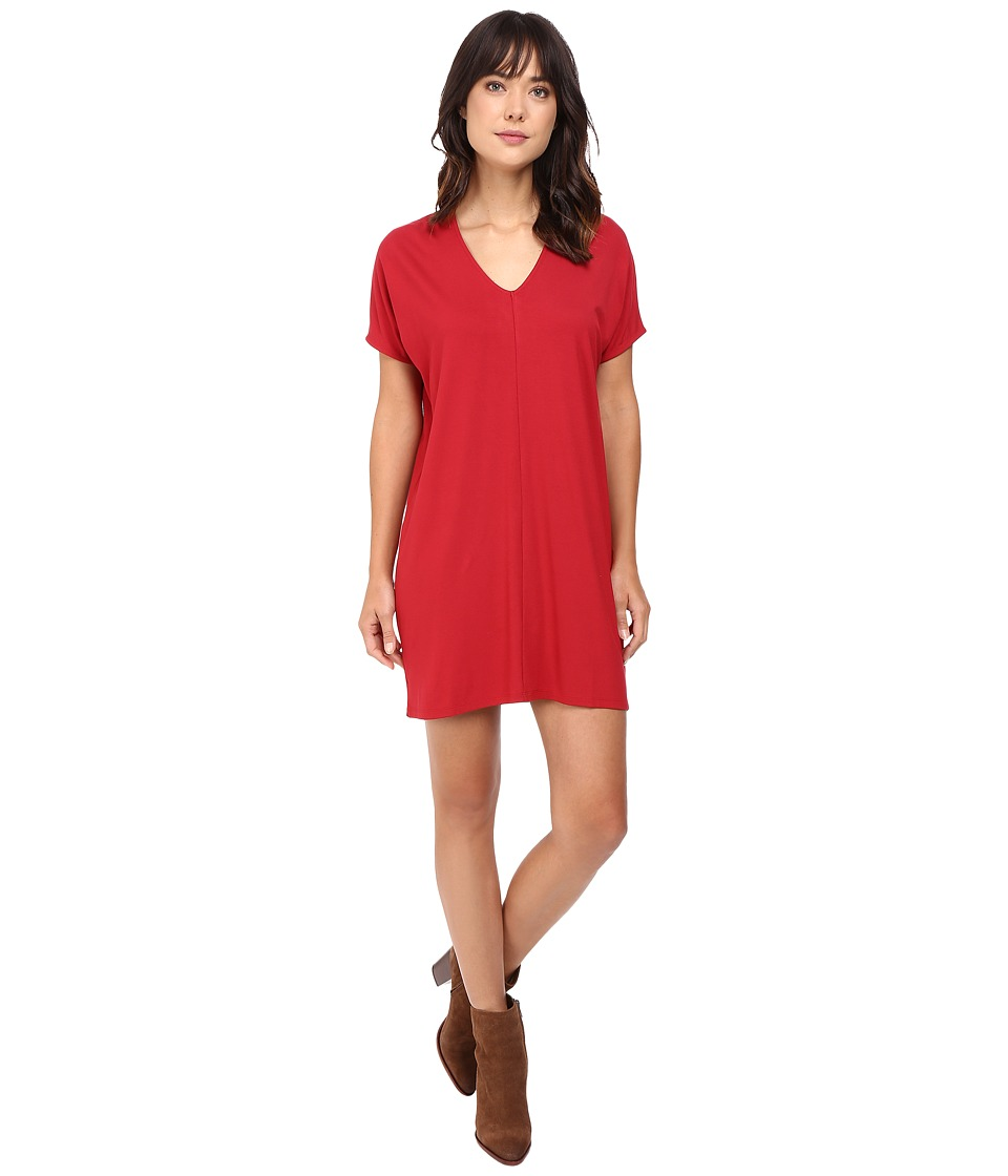 Lilla P Stretch Jersey Short Sleeve V-Neck Dress (Garnet) Women