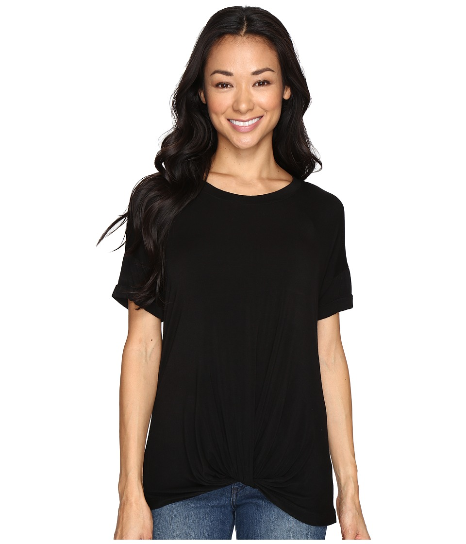 Allen Allen Twist Front Crew w/ Roll Hem Sleeves (Black) Women
