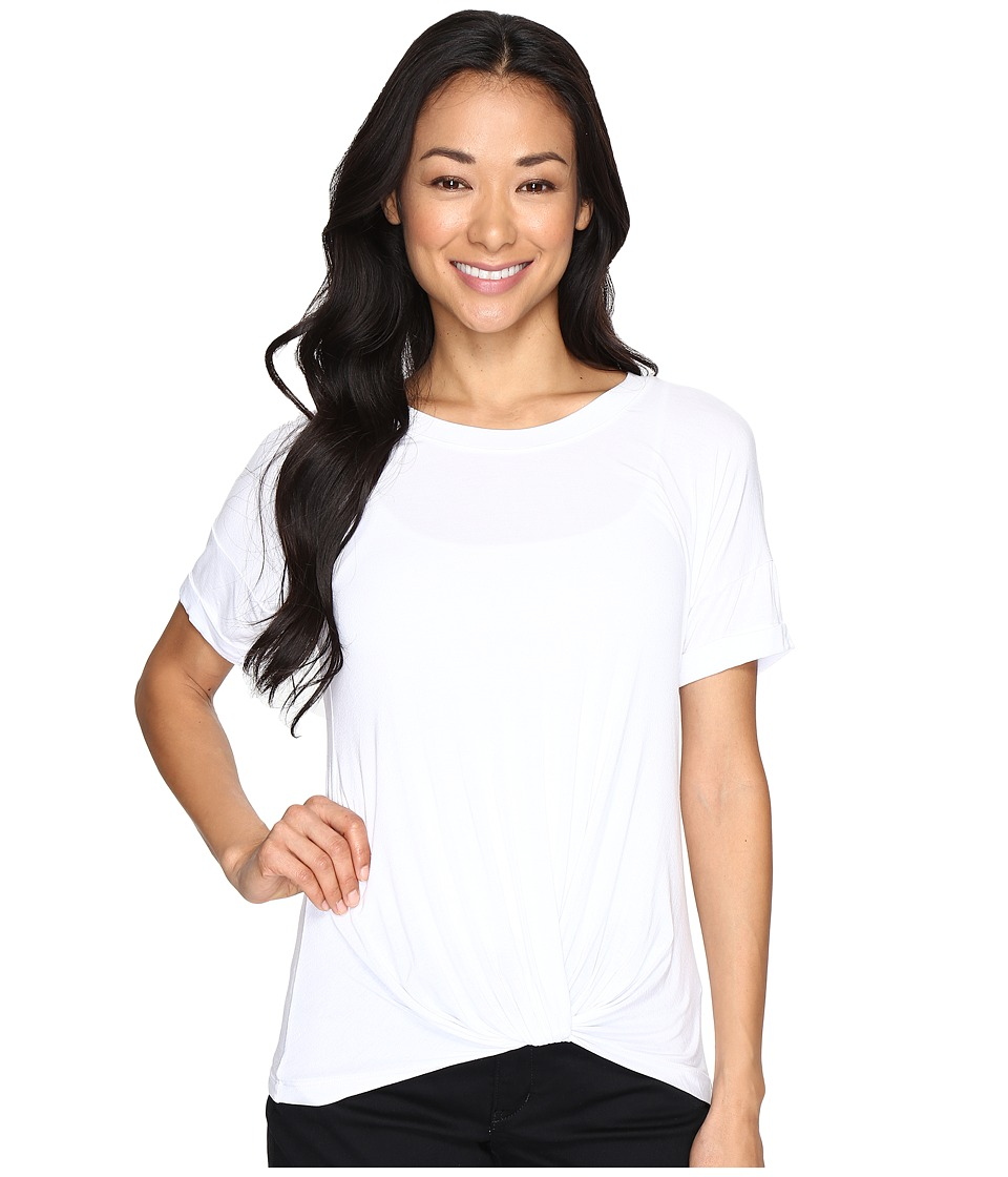 Allen Allen Twist Front Crew w/ Roll Hem Sleeves (White) Women