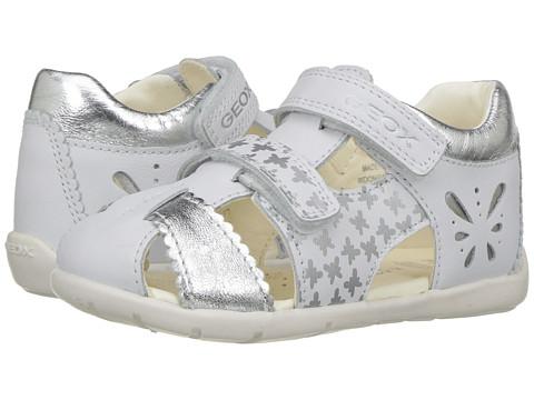Geox Kids Jr Kaytan Girl 31 (Infant/Toddler) - Off-White/Silver