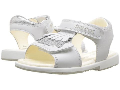 Geox Kids Jr Verred Girl 14 (Toddler) - White/Silver