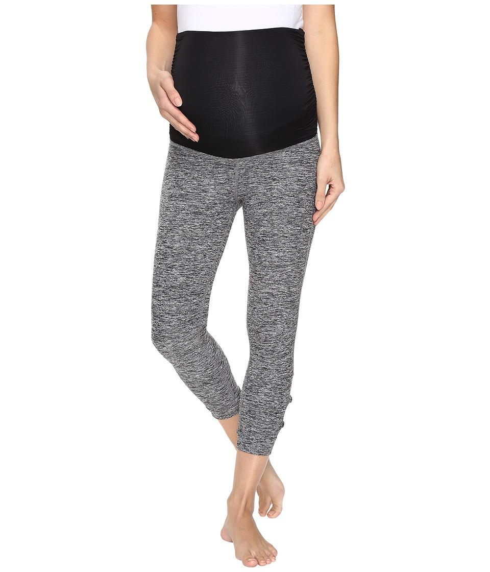 Image of Beyond Yoga - Circle Cut Out Maternity Leggings (Black/White Spacedye) Women's Workout