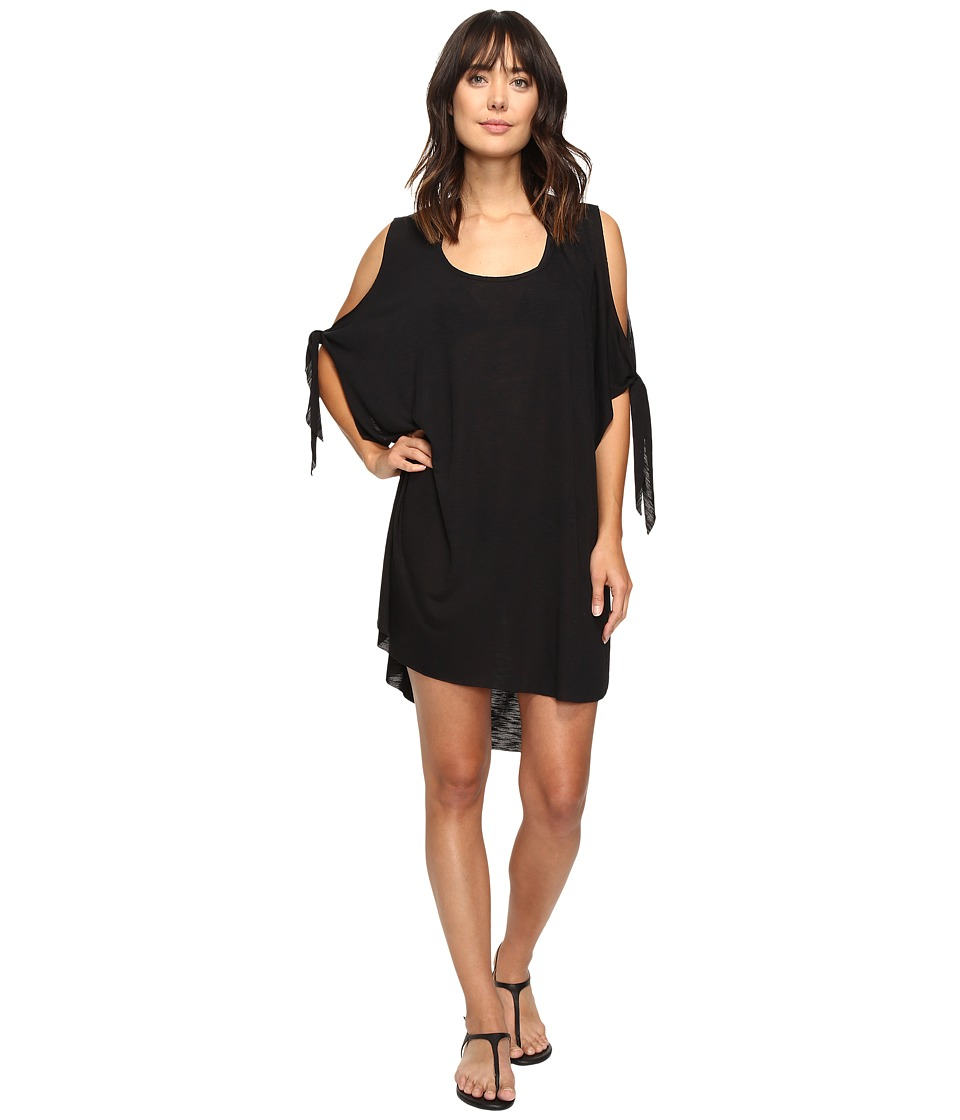 Image of BECCA by Rebecca Virtue - Breezy Basics Cold Shoulder Poncho Cover-Up (Black) Women's Swimwear