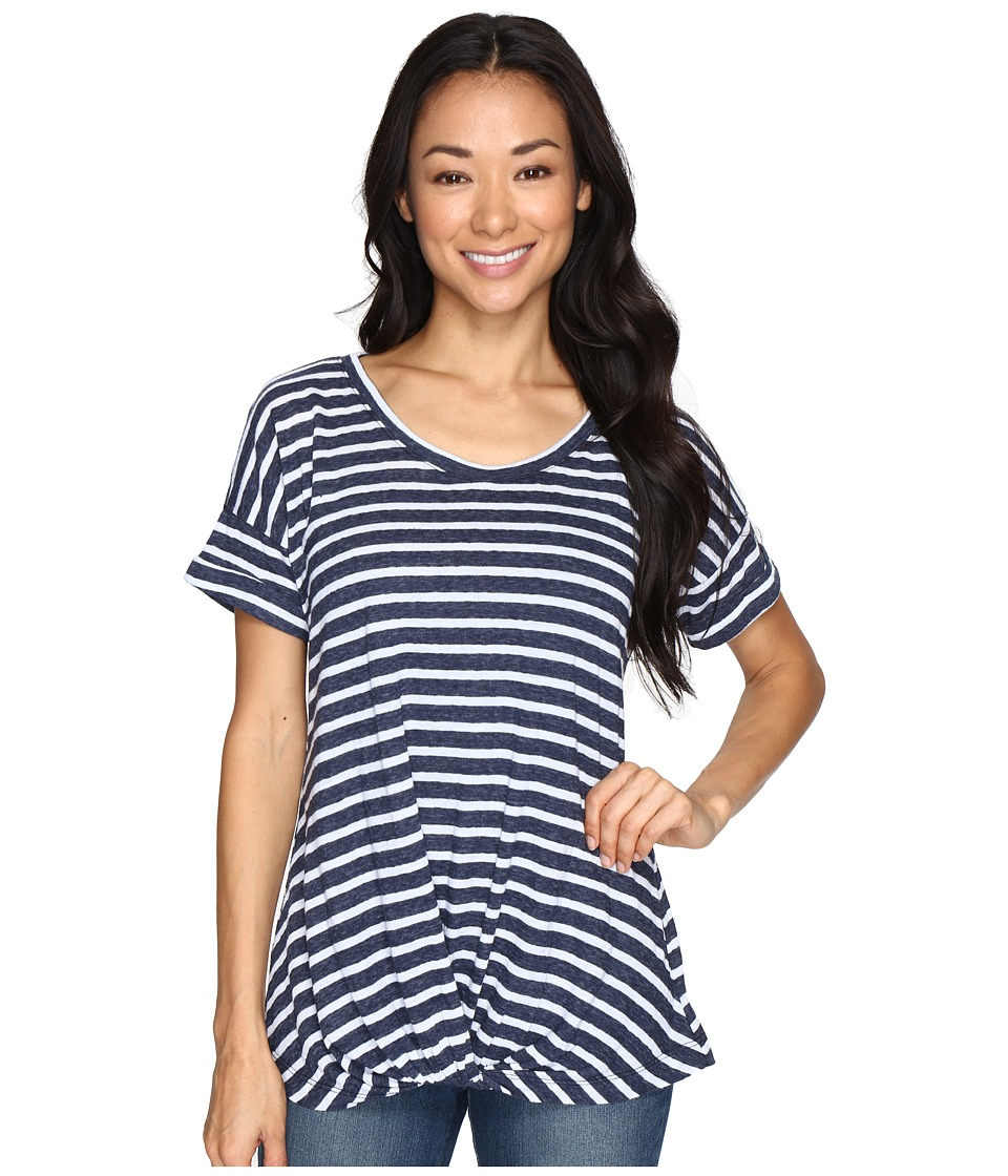 Allen Allen Twist Front Crew w/ Roll Hem Sleeves Stripe (Navy) Women