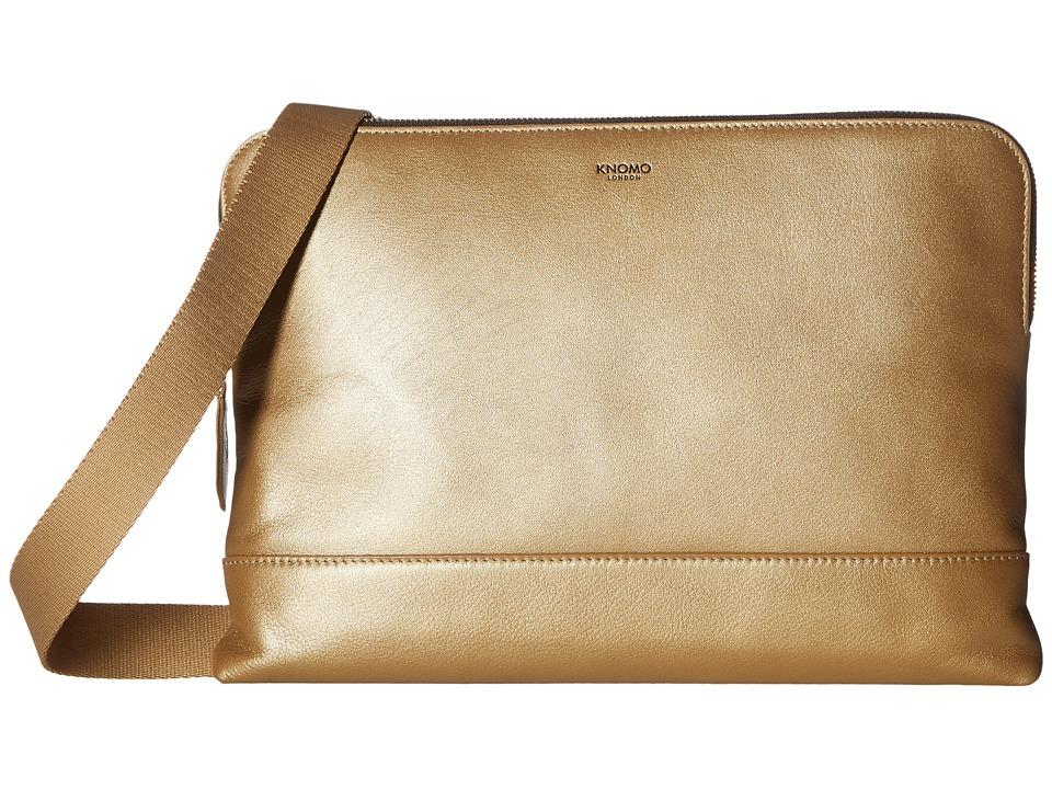 KNOMO London - Mayfair Luxe Molton Single Zip Crossbody (Gold) Cross Body Handbags