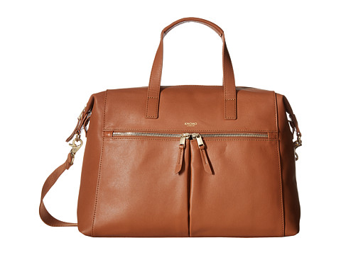 KNOMO London Mayfair Luxe Audley Slim Brief Tote - Caramel