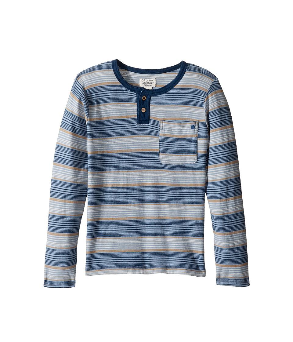 Lucky Brand Kids Long Sleeve Striped Henley Shirt (Little Kids/Big Kids) (Indy Blue) Boy