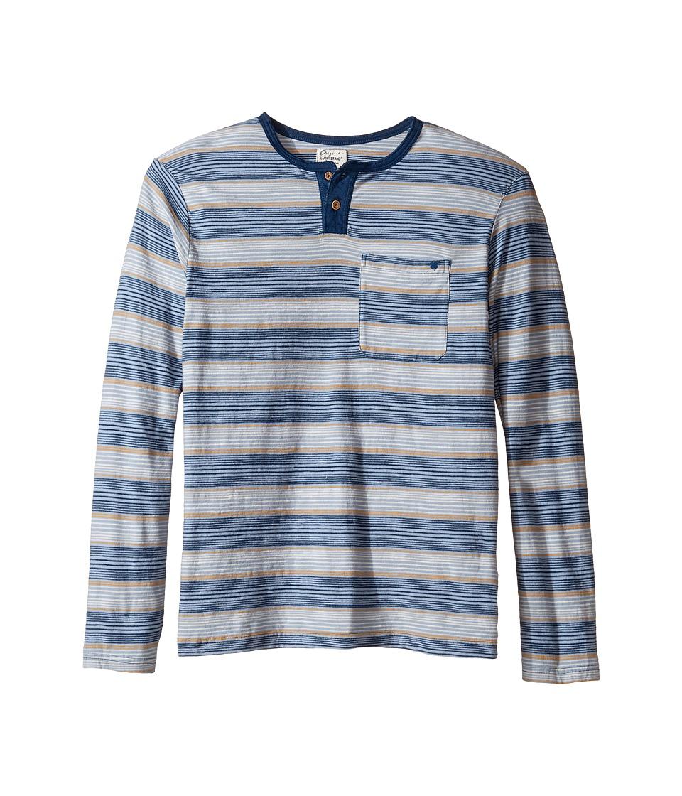 Lucky Brand Kids Long Sleeve Striped Henley Shirt (Big Kids) (Indy Blue) Boy