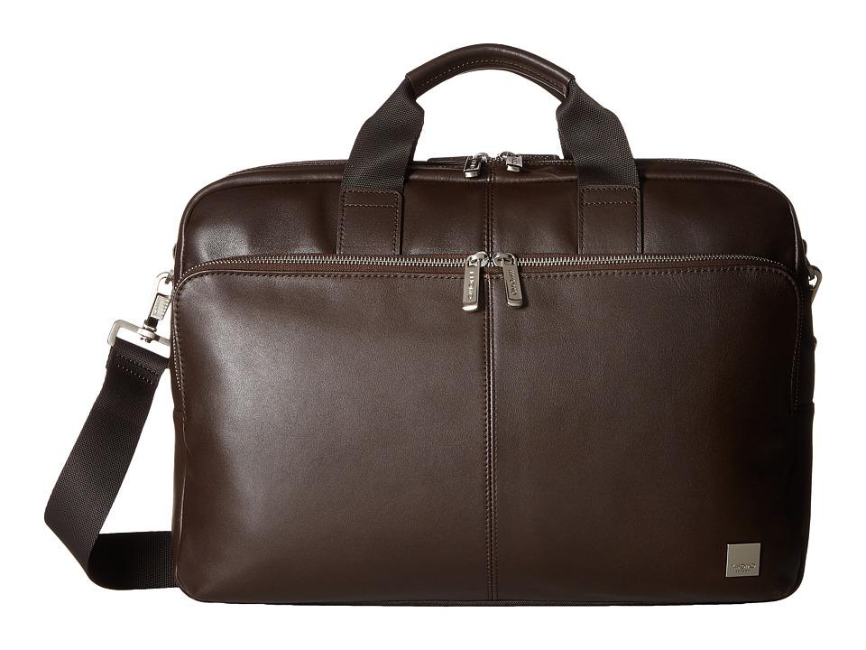 KNOMO London Brompton Classic Amesbury Double Zip Briefcase (Brown) Briefcase Bags