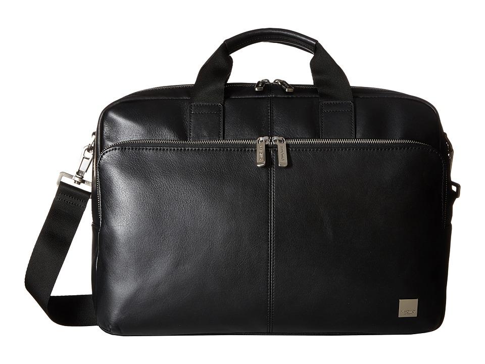 KNOMO London Brompton Classic Amesbury Double Zip Briefcase (Black) Briefcase Bags