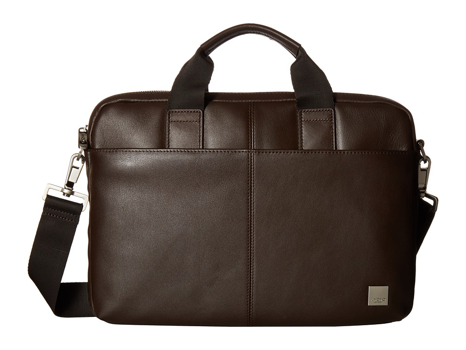 KNOMO London Brompton Classic Stanford Slim Briefcase (Brown) Briefcase Bags