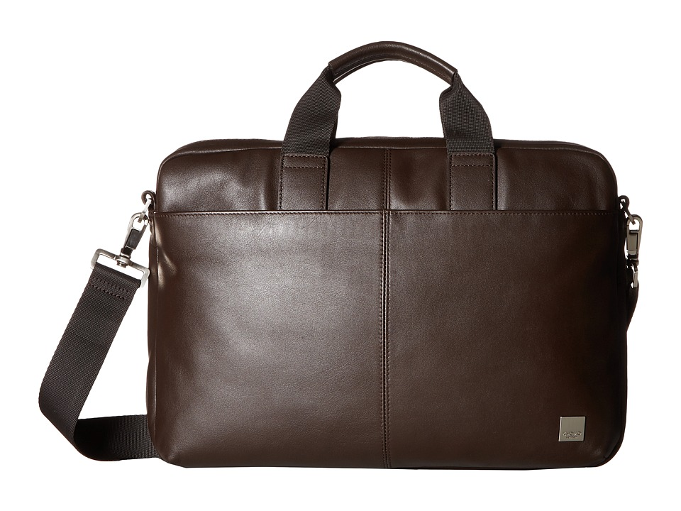 KNOMO London Brompton Classic Durham Slim Briefcase (Brown) Briefcase Bags