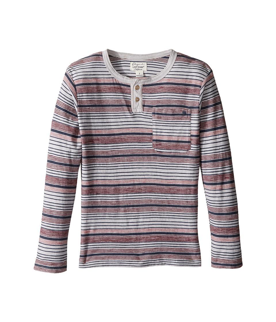 Lucky Brand Kids Striped Henley Shirt with Chest Pocket (Little Kids/Big Kids) (Microchip) Boy