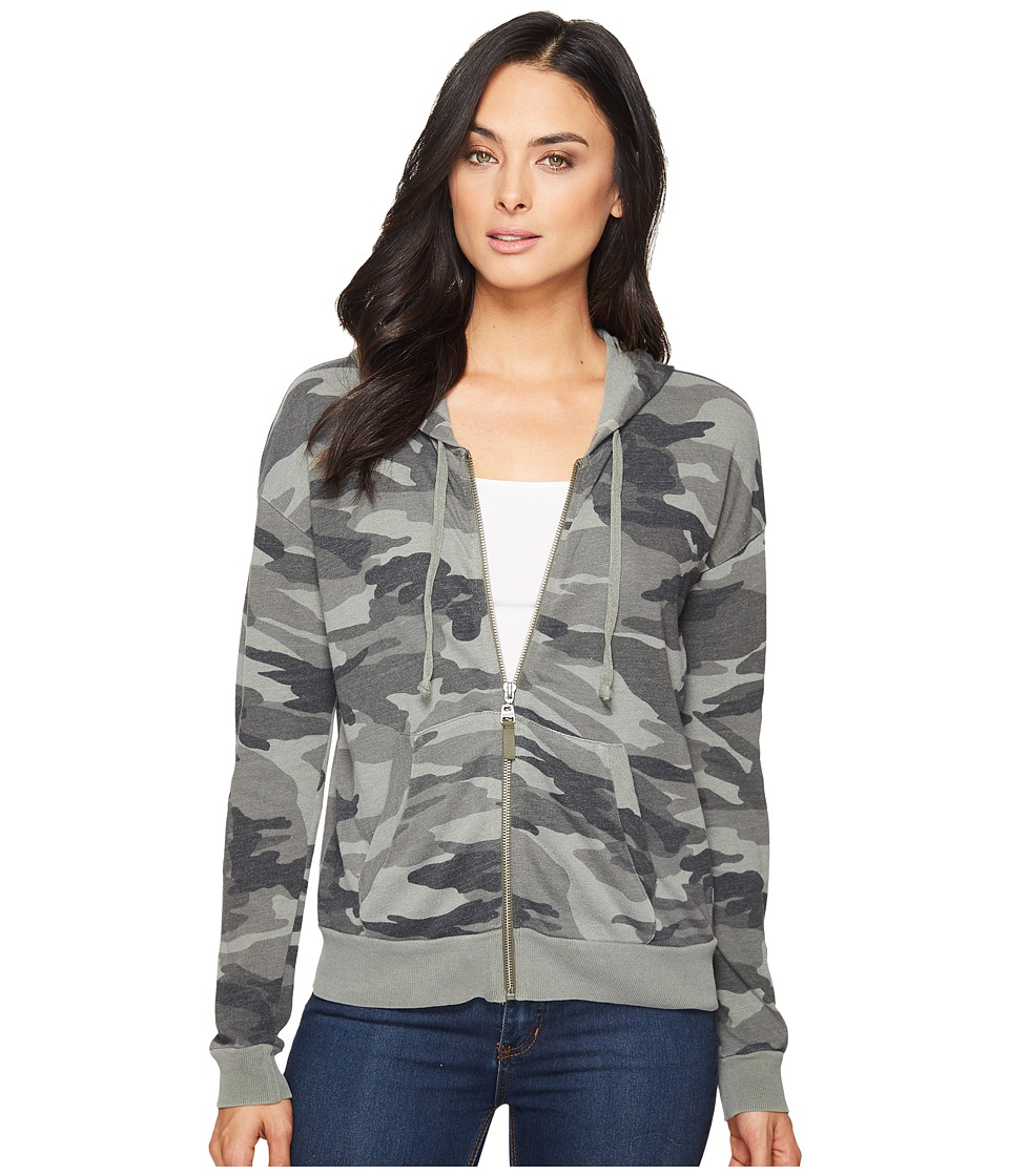 Splendid - Camo Zip Hoodie (V Military Olive) Womens Sweatshirt