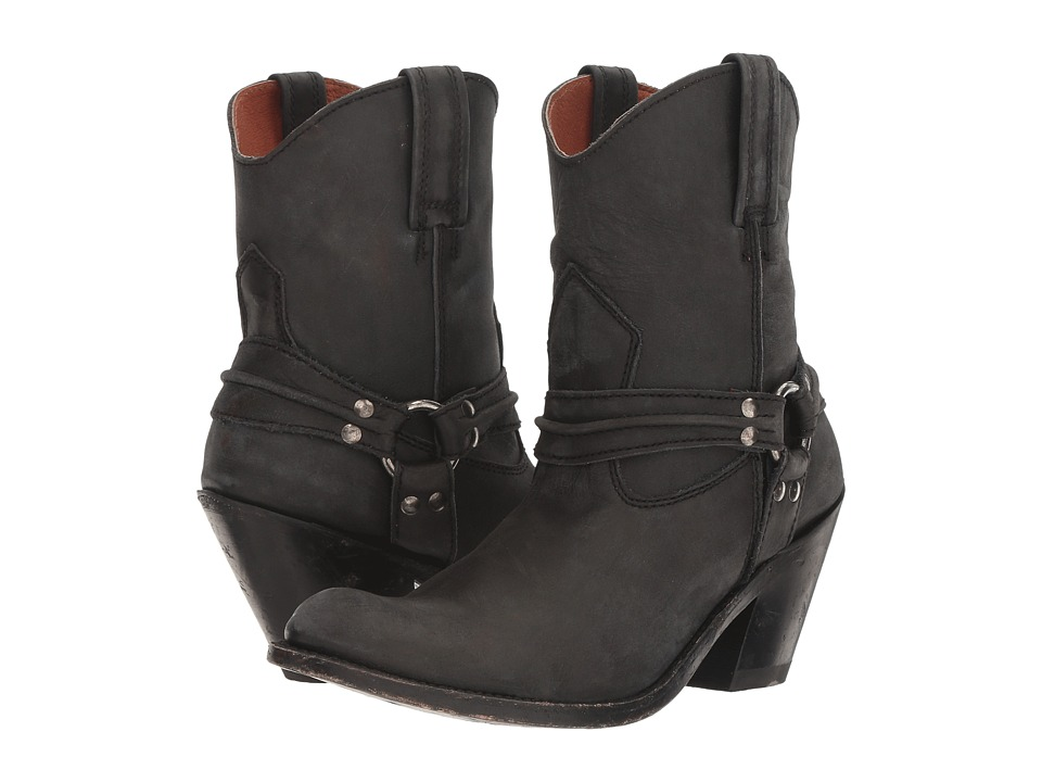Dan Post Charlotte (Black Distressed Zip Round Toe) Cowboy Boots