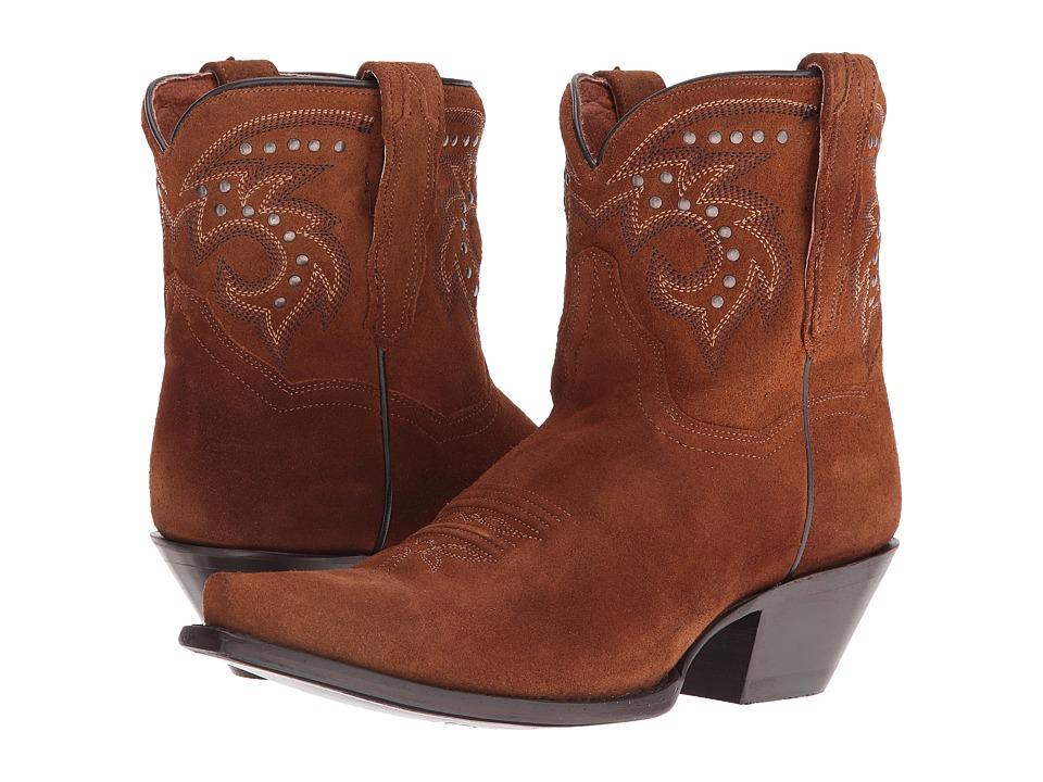 Dan Post Flat Iron Studs (Amber Suede Snip Toe) Cowboy Boots