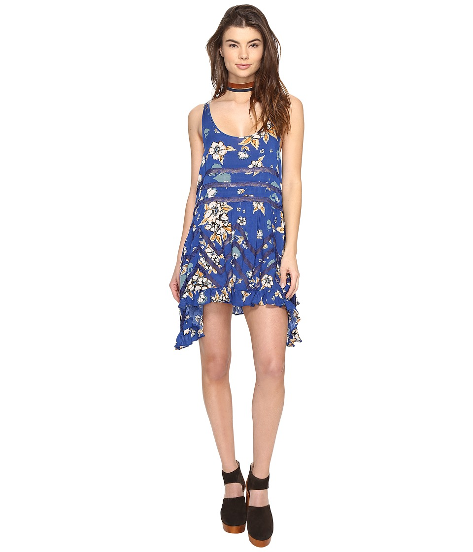 Free People Printed Viscose Voile Lace Trapeze Slip (Blue Combo) Women