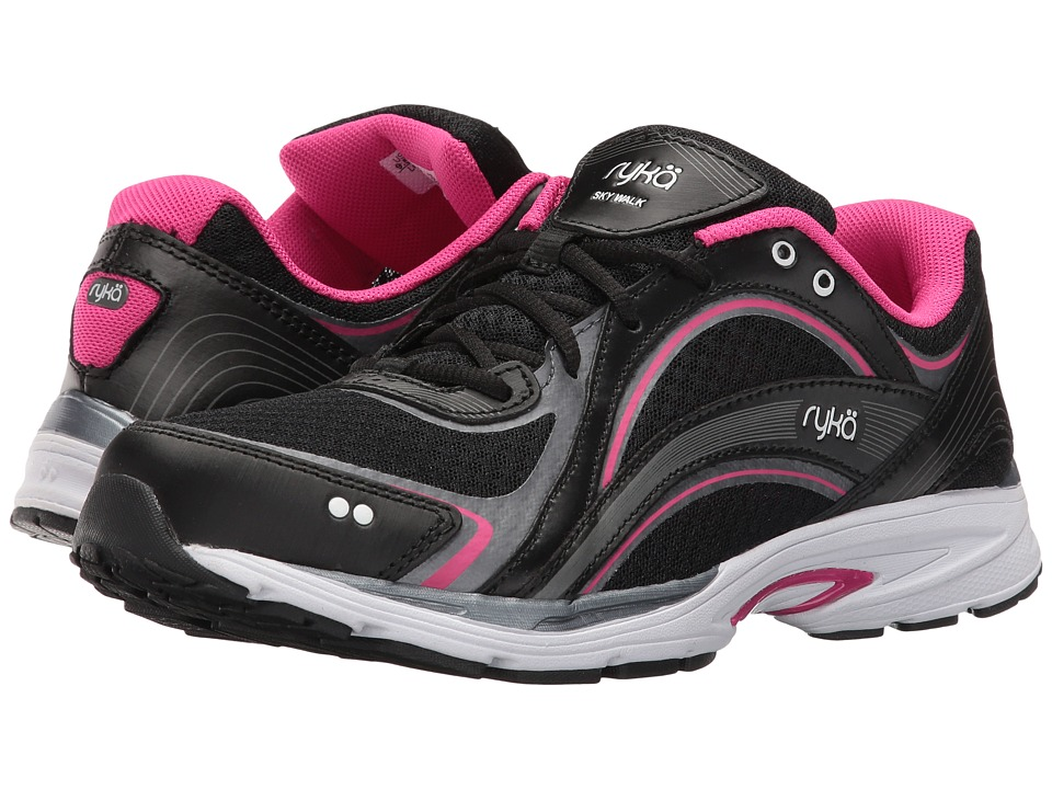Ryka Sky Walk (Black/Meteorite/Pink) Walking Shoes