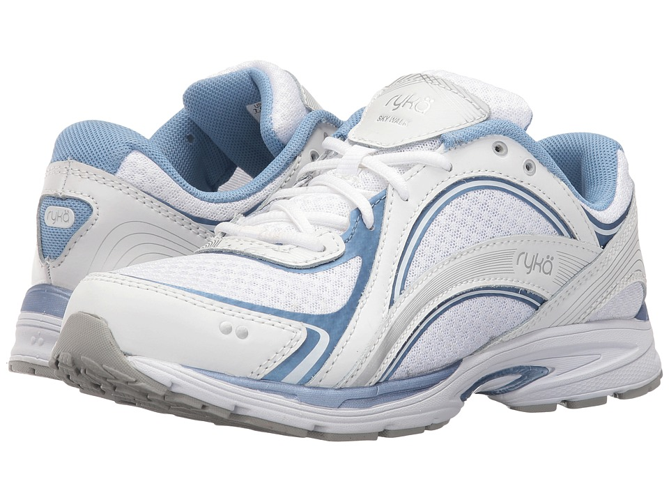 Ryka Sky Walk (White/Metallic Lake Blue/Chrome Silver) Walking Shoes