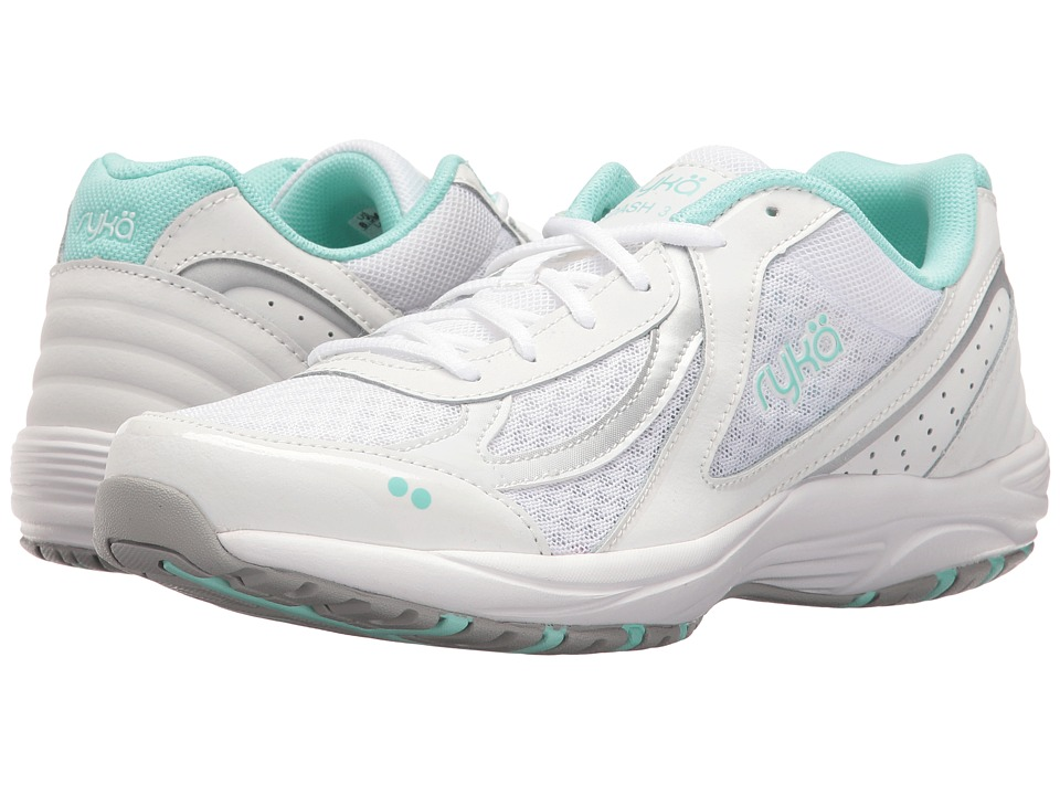 Ryka Dash 3 (White/Chrome Silver/Yucca Mint) Walking Shoes