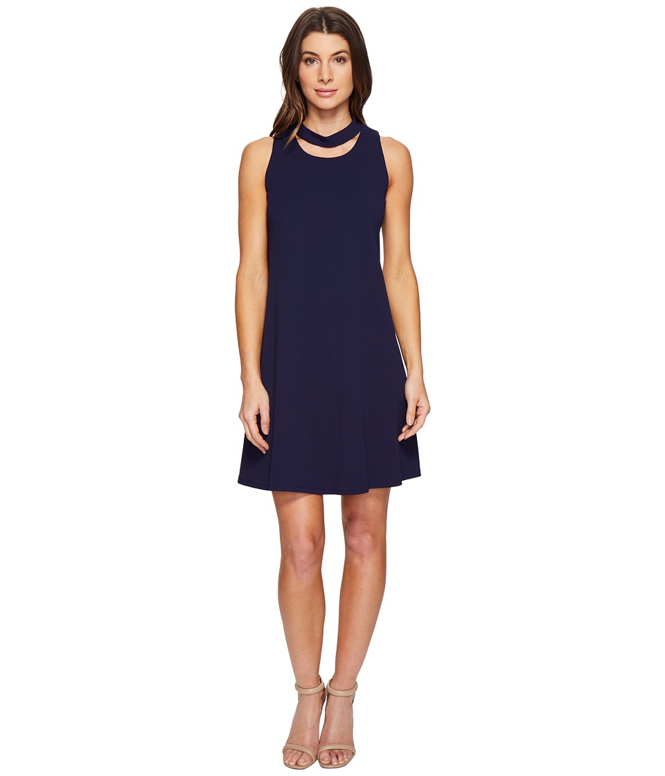 Christin Michaels Harlyn Sleeveless Dress with Neckline Detail (Navy) Women