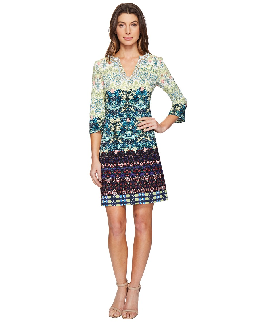 Christin Michaels Bexley Printed Dress with Beading (Clover/Multi) Women