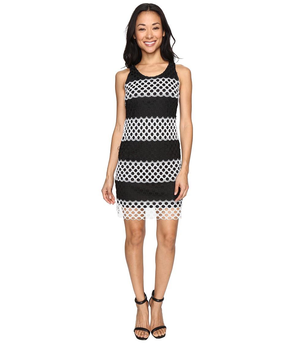 Christin Michaels Cady Sleeveless Burnout Lace Dress (Black/White) Women