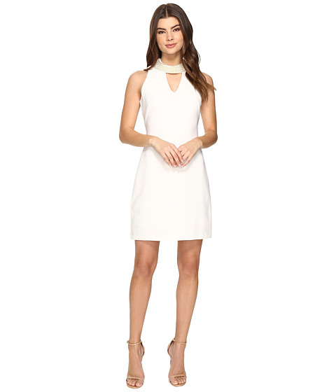 Christin Michaels Britta Sleeveless Keyhole Dress with Pearl Neckline
