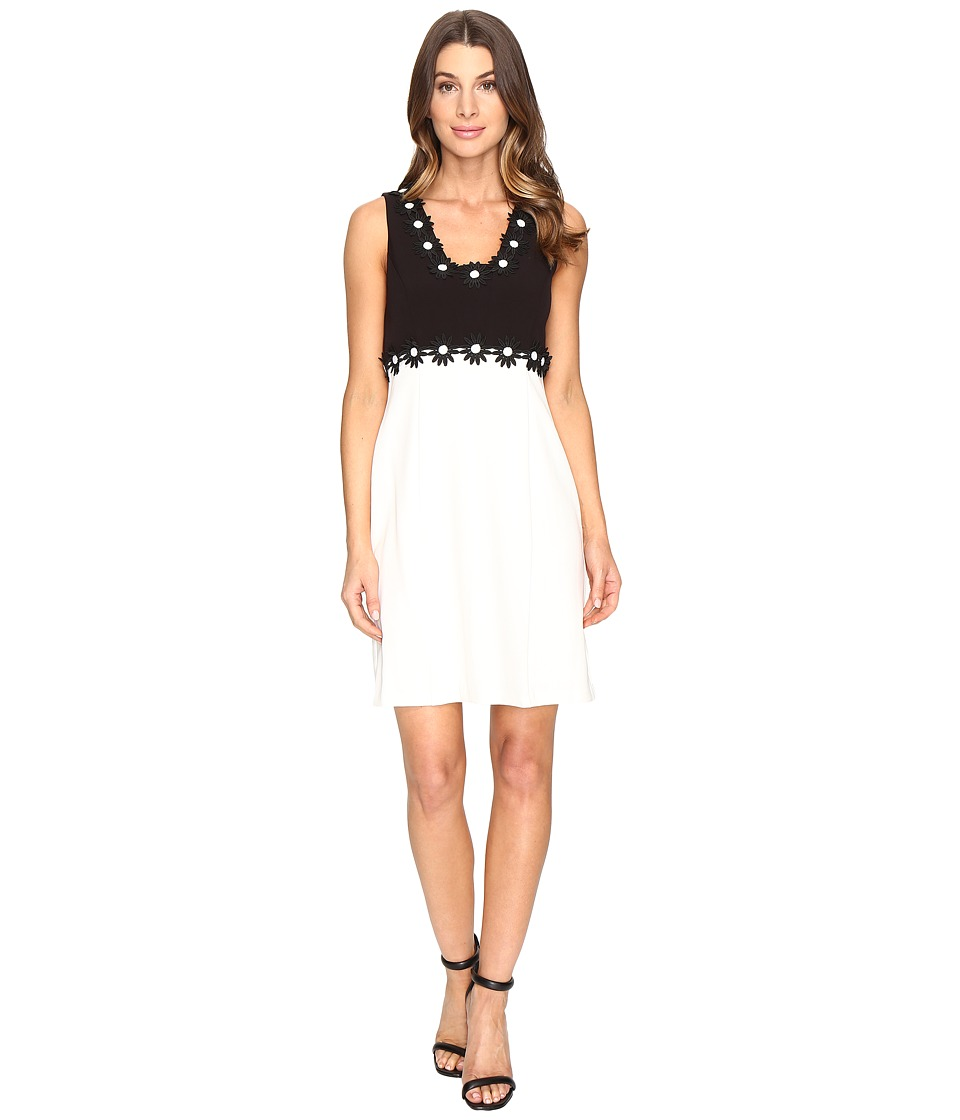 Christin Michaels Aviana Sleeveless Dress with Flower Detail (Black/Cream) Women