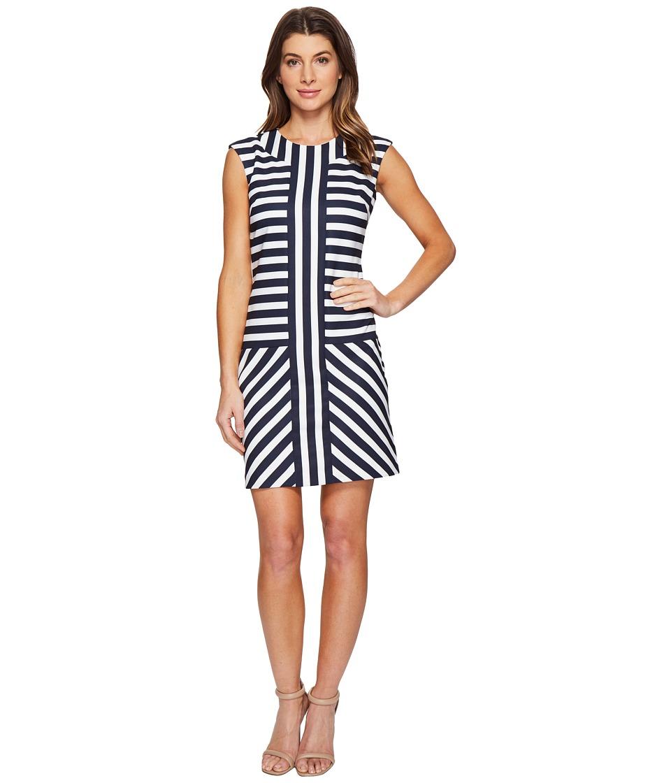 Christin Michaels Ember Mock Neck Striped Dress (Navy/Cream) Women