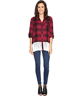Brigitte Bailey - Maisha Plaid Top with Lace Bottom