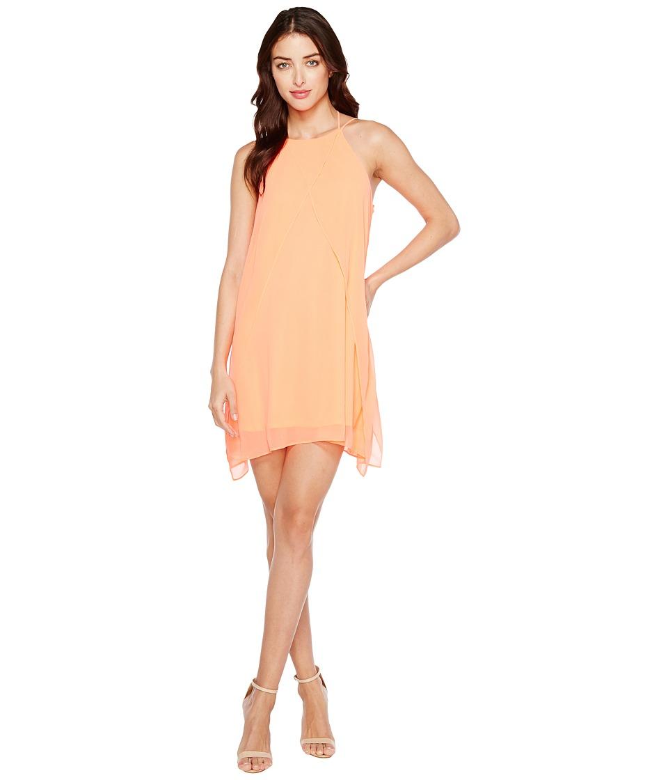 Brigitte Bailey Cyndel Spaghetti Strap Ruffle Dress (Neon Coral) Women