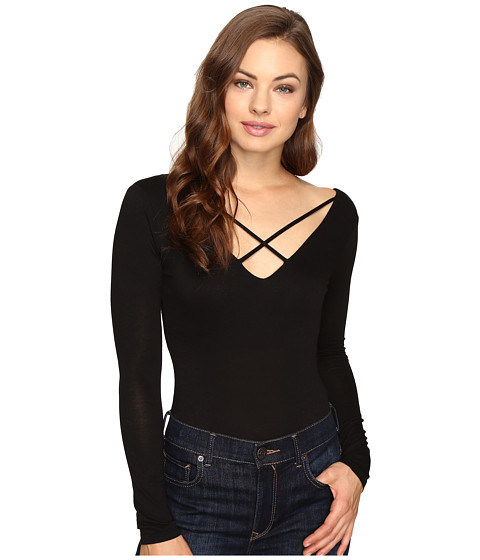 Brigitte Bailey Beckett Cross-Front Bodysuit - Black