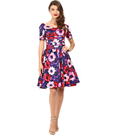Unique Vintage - Cap Sleeve Scallop Roman Holiday Dress