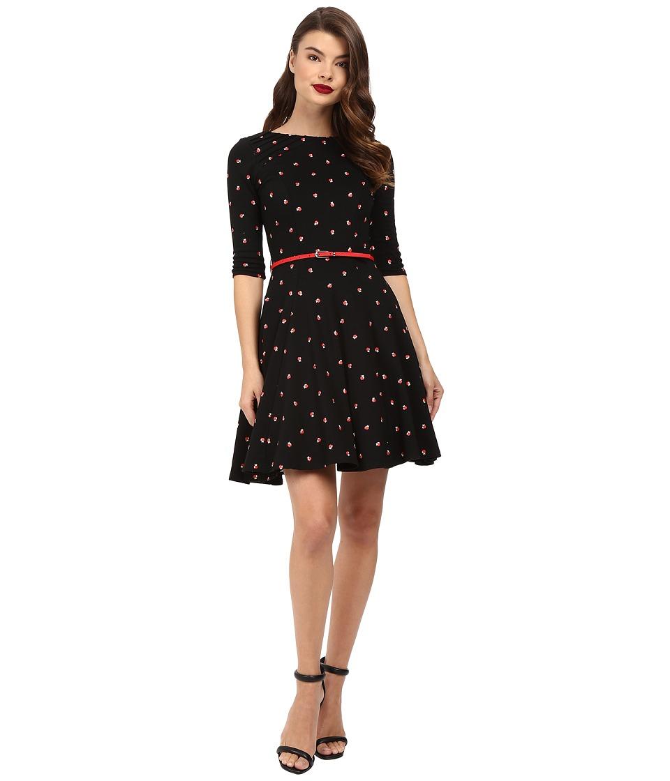 Unique Vintage 3/4 Sleeve Fit Flare Knit Dress (Black/Apple Print) Women