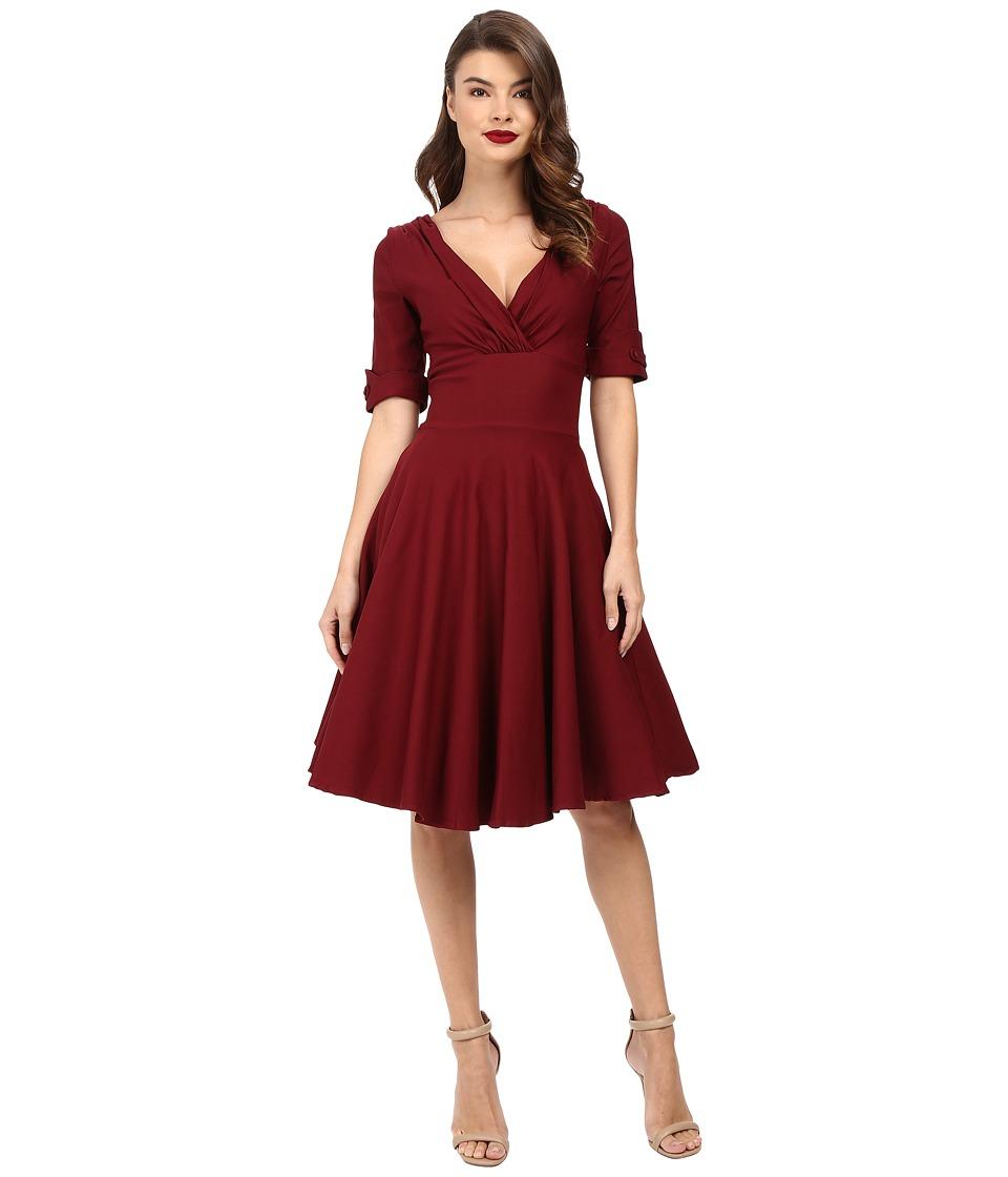 Unique Vintage 3/4 Sleeve Delores Swing Dress (Burgundy) Women