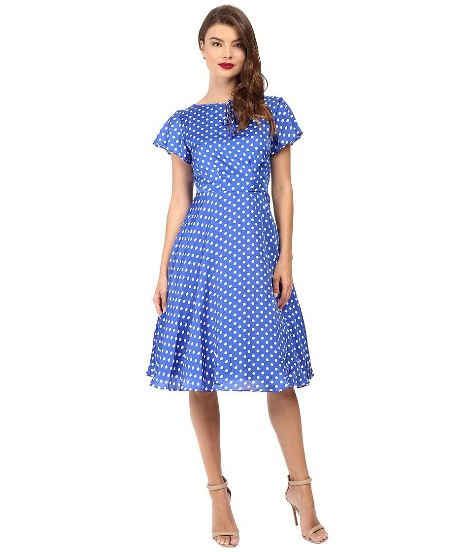 1940sStyleDressesandClothing 1940s Style Formosa Swing Dress Royal Blue Dot Womens Dress $88.00 AT vintagedancer.com