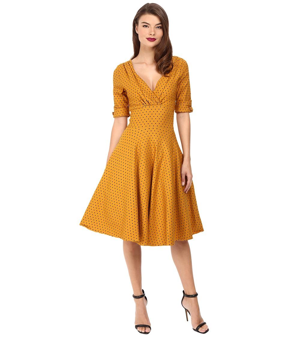 Unique Vintage 3/4 Sleeve Delores Swing Dress (Mustard/Black Dot) Women