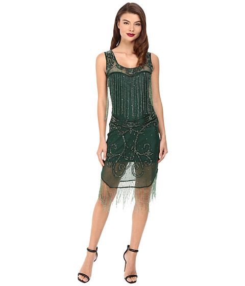 Unique Vintage Hand Beaded Draping Fringe Flapper Dress - Green