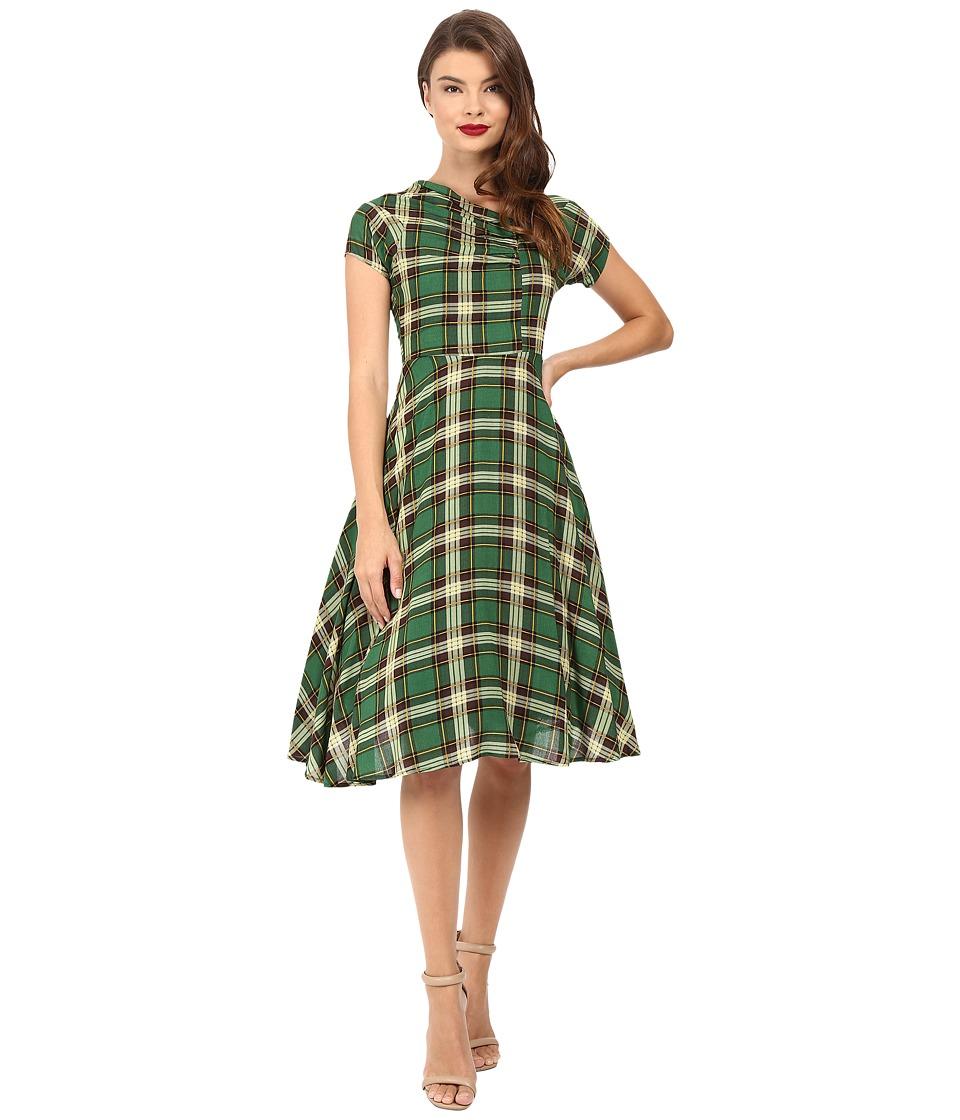 Unique Vintage Cap Sleeve Cut Out Swing Dress (Green Plaid) Women