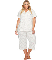LAUREN Ralph Lauren - Plus Size Short Sleeve Knit Notch Collar Capri PJ