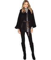 Ellen Tracy - Faux Fur Trim Hooded Cape w/ Faux Leather Belt