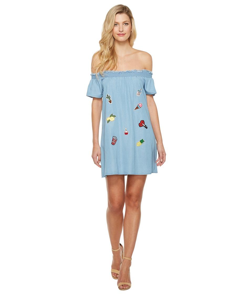 Brigitte Bailey Alizah Off the Shoulder Dress with Patches (Denim) Women
