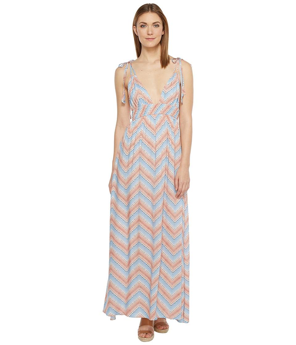 Brigitte Bailey Colette Strappy V-Neck Maxi Dress (Pink/Blue) Women