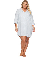 LAUREN Ralph Lauren - Plus Size 3/4 Sleeve Knit Notch Collar Sleepshirt