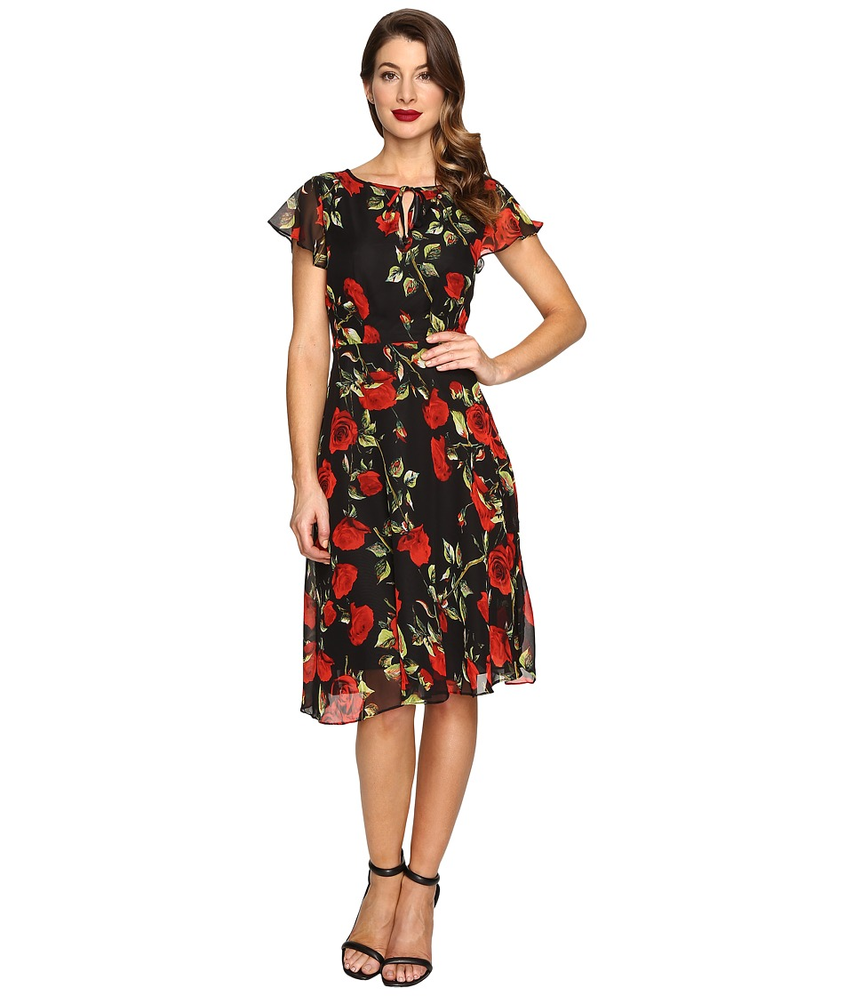 Unique Vintage Formosa Flutter Sleeve Dress (Black Rose) Women